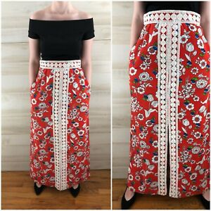 b35aa76ffbf Image is loading Vintage-60s-Red-Floral-Crochet-Linen-Maxi-Skirt-