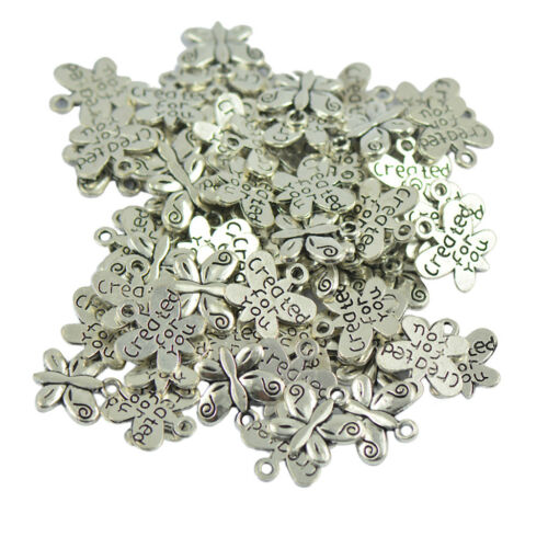 50x Butterfly Tibet Silver Created For You Locket Charms Pendant DIY Jewelry