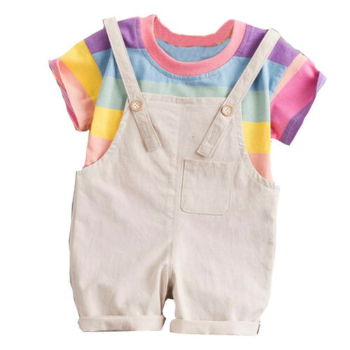 Toddler Baby Boy Kids Rainbow Stripe Tops T-shirt Straps Pants Outfit Casual Set