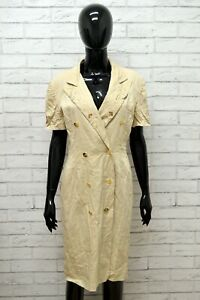 Vestito-LUISA-SPAGNOLI-Donna-Taglia-Size-44-XL-Abito-Dress-Woman-Cotone-Beige
