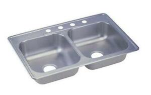 Elkay 33 x 22 x 6 inch Drop In Double Bowl Stainless Steel Kitchen Sink 23 Gauge
