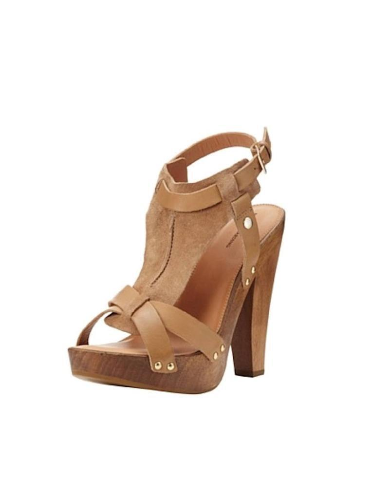 Madison Harding Colter T-Strap Shoes Sandal SANDY Camel Brown Shoes T-Strap Leather Suede NEW ee136c