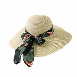01bb96d1a Details about Summer Female Sun Hat Bow Ribbon Design Casual Floppy Straw  Beach Caps For Women