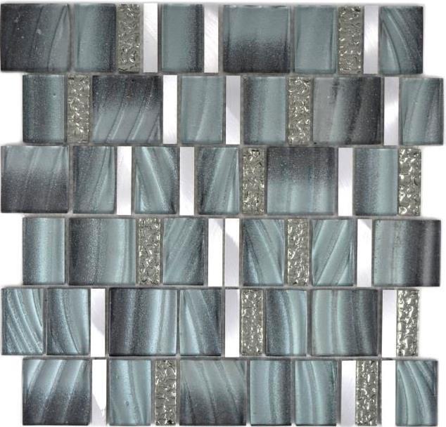 Aluminium Mosaik Glasmosaik grau silber Wand Küche Bad Theke 88-0002_f 10Matten