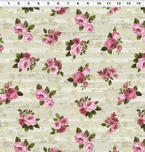 Love-Song-Khaki-Pink-Roses-Cotton-Fabric-Clothworks