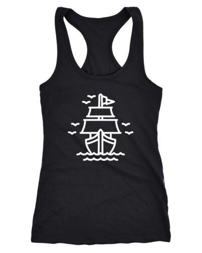 Damen Tank-Top Schiffchen Schiff Segelschiff Racerback Neverless®