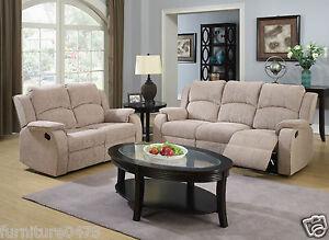 Beige Brown Fabric Material Manual Reclining Recliner Sofa Suite