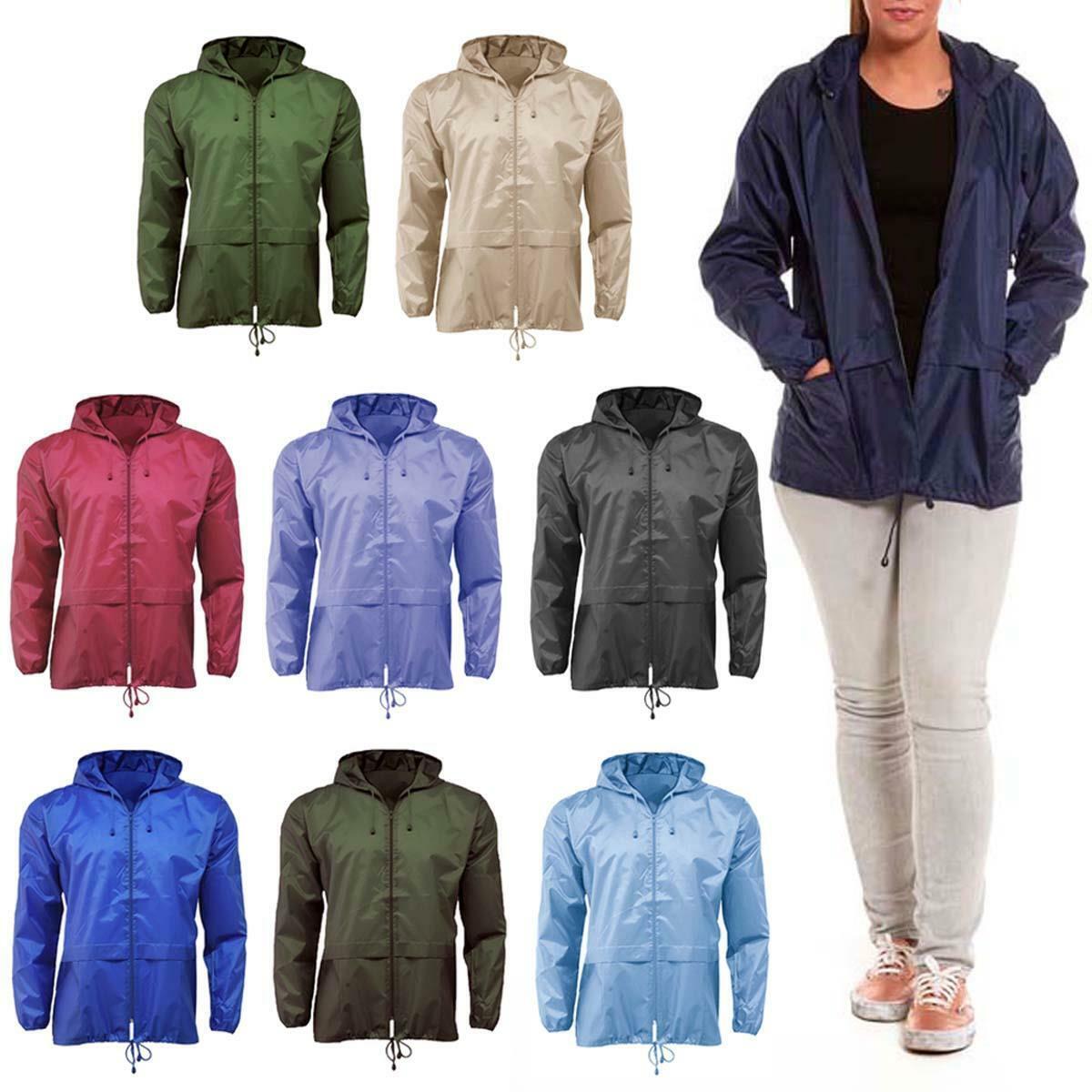 Unisex Lightweight Showerproof Jacket Mac Plain Kagool for Men & Women Cagoule