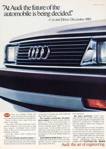Classic Vintage Advertisement Ad D61 1984 Audi 5000S Future