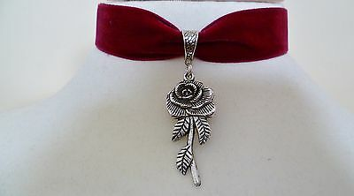 Red Velvet Rose Choker Gothic Medieval Necklace Wicca Pagan Pendant Handmade