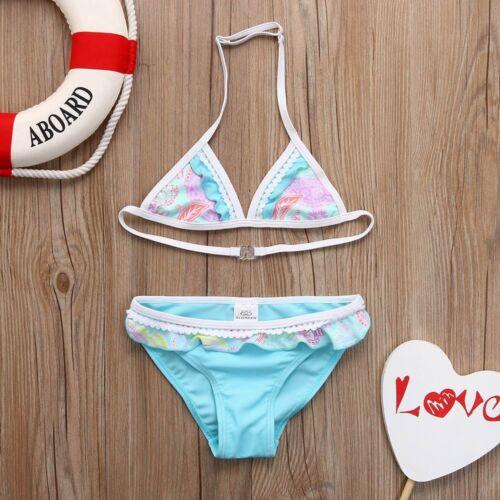 2Pcs Toddler Baby Kids Girls Beach Swimwear Bathing Bikini Set Outfits Swimsuit