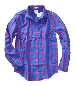 J-Crew-Factory-Women-039-s-XXS-NWT-Blue-Windowpane-Plaid-Boy-Fit-Flannel-Shirt
