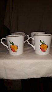 Corelle-FRUIT-BASKET-Cups-Mugs-Set-of-4-Coffee-Tea-Cherries-Peaches