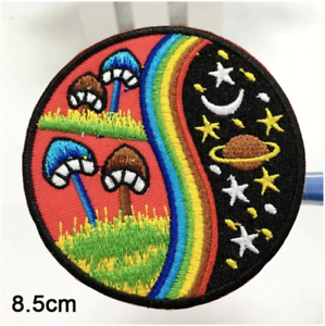 Friends Funny Iron on Embroidery Cloth Patch Sew on Badge Pink Mushroom