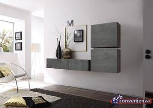 Cube 7 rovere grigio parete attrezzata moderna soggiorno design ebay