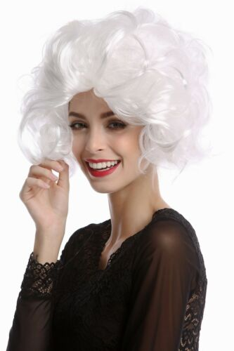 Wig Ladies Carnival Diva Hollywood short Curly Wavy Backcombs White White Blonde