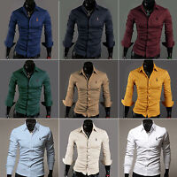 Stylish Fashion Men's Casual Slim Fit Deer Embroidery Long Sleeve Dress Shirts