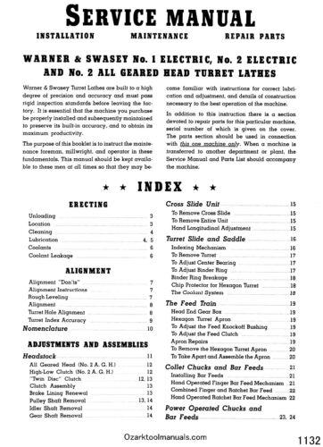 2 Turret Lathe Model M-1330 Instructions /& Parts Manual  1132 WARNER SWASEY No
