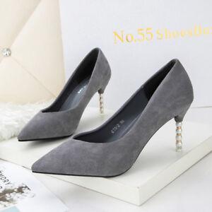 Leather Grey 9666 Stiletto Jewel Like 10 Cm Court Suede Shoes Elegant qzTTP1