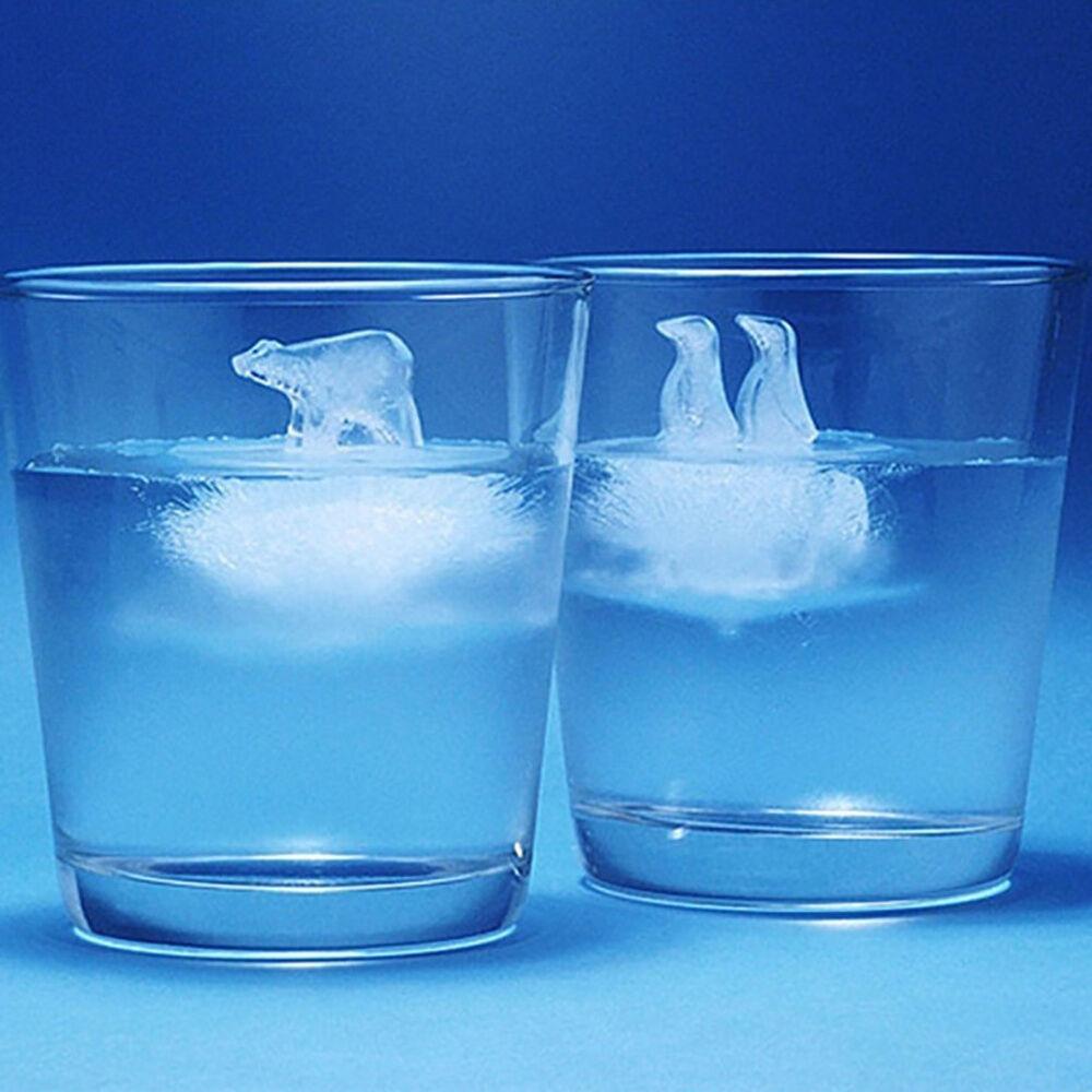tyrrdtrd 2Pcs Polar Bear Penguin Model Silicone Mold Jelly Chocolate Ice Cube Kitchen Maker