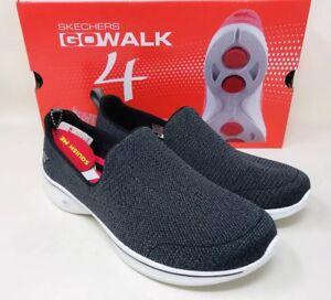 Skechers-Women-039-s-Go-Walk-4-Slip-On-Wallking-Shoe-Black-Grey-Pick-A-Size