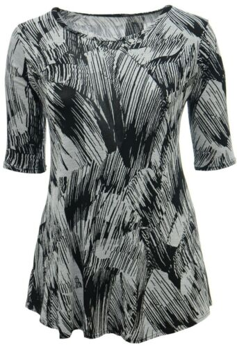 Womens Bnwt Gorgeous Black Grey Sketch Print Stretchy Top 3//4 Sleeve Ladies