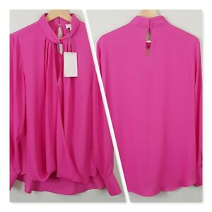 WITCHERY-Womens-Fuchsia-Crossover-Blouse-Top-NEW-Size-AU-14-or-US-10
