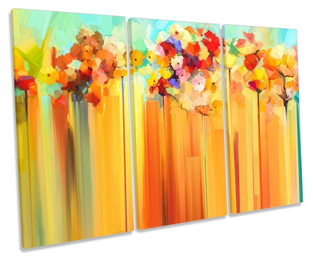 Abstract Floral Orange Blossom Framed TREBLE CANVAS PRINT Wall Art
