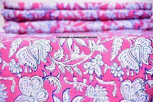 Indian-Block-Printed-Fabric-Cotton-Natural-Sanganer-Vegetable-Color-10-Yards