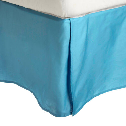 WRINKLE FREE BED SKIRT SOLID-2 LINE EMBROIDERY-AQUA