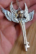 Kette wings schlüssel larp  steel key pendant flügel gothic silber angel xxl