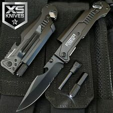 Black EDC Assisted Open LED Multifunction Pocket Knife Survival MULTI TOOL