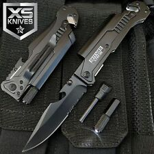 Black EDC Spring Assisted LED Multifunction Pocket Knife Survival MULTI TOOL