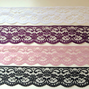 "Laces Galore White French Lace Wide Delicate Rose 6.75/""//17 cm Bridal Craft Trim"
