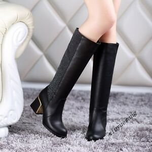 Fashion-Ladies-Retro-Pull-On-Block-Heel-PU-Leather-Casual-Knee-High-Boots-Shoes