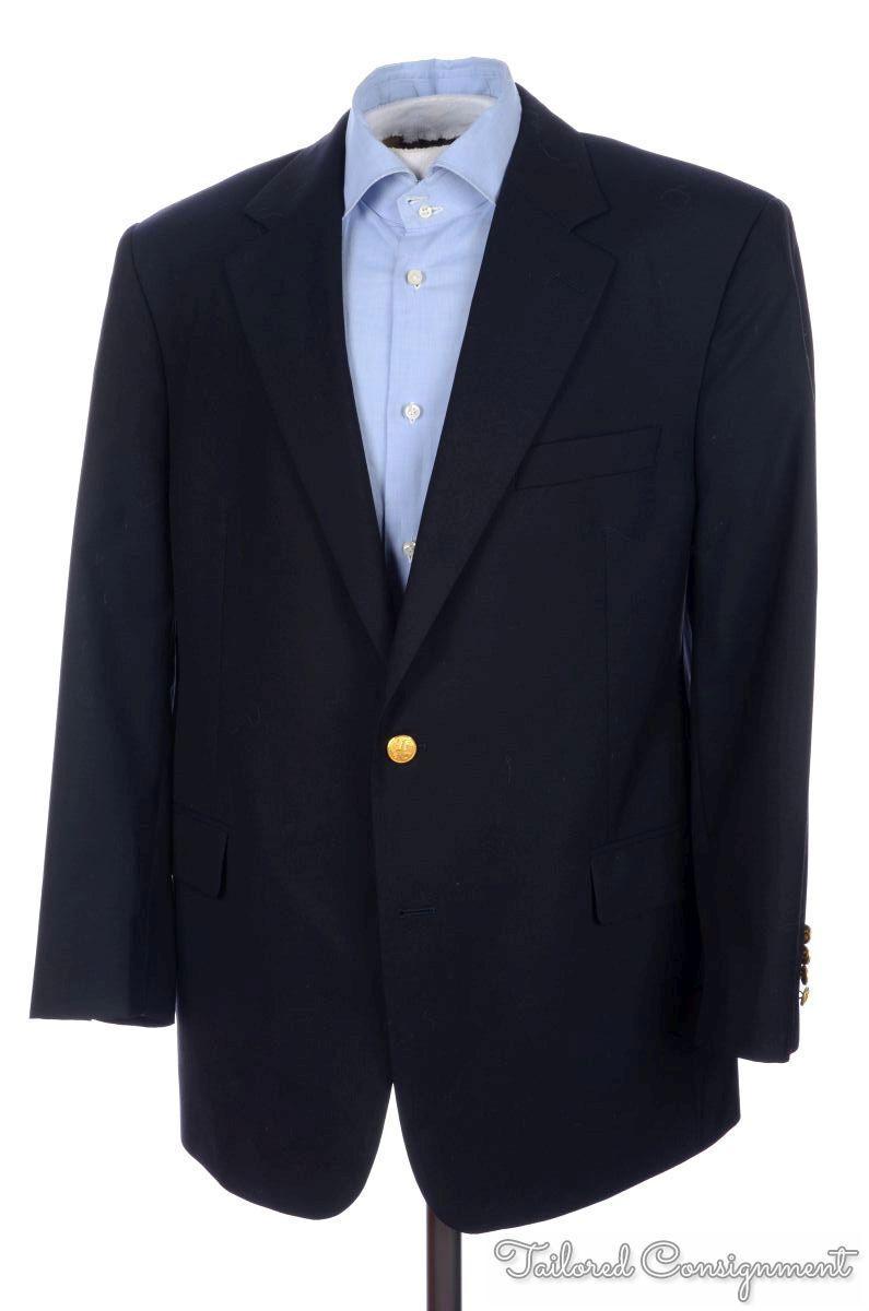 BROOKS BredHERS Brooksease bluee Lgold Piana Wool gold BTN Blazer Sport Coat 45 R