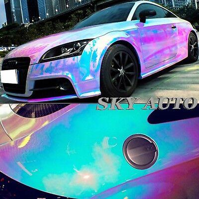 Car Vinyl Wrap Cost >> 1ft X 4 5ft Holographic Rainbow White Neo Chrome Car Vinyl Wrap Ebay