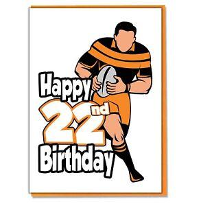 Mens Son Grandson Husband Friend Mate Football Silhouette 22nd Birthday Card