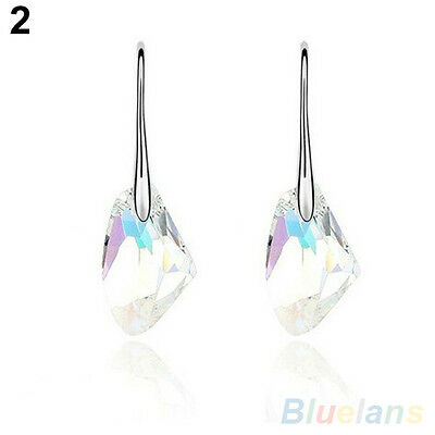 Chic Womens Jewelry Irregular Cut Multicolor Crystal Dangles Drops Hook Earrings