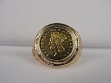 14K YELLOW GOLD RING W/ 1868 LARGE HEAD INDIAN PRINCESS GOLD DOLLAR COIN