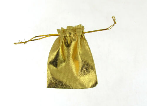 small x 12 drawstring gift bags//pouch in gold /& gold thread tie wedding kJ