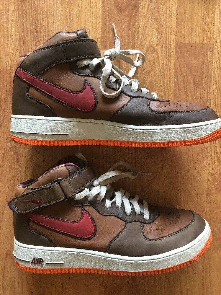 Nike Air Force One Mid 11.5 Premium Brown Orange Size 11.5 Mid Pre-owned 310277-261 ccc583
