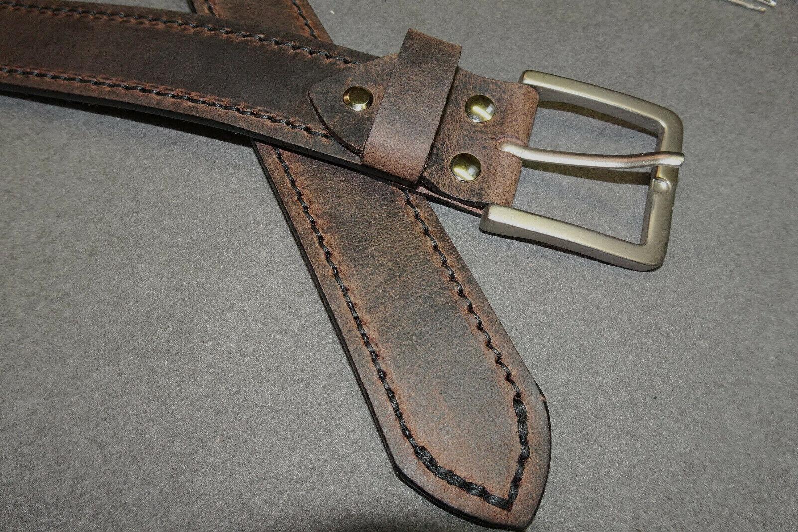 120 x 4 cm Vintage braun Hosengürtel Gürtel Vollleder verstellbar Latigo Leder