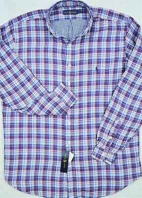 NWT $98 Polo Ralph Lauren Cotton Stretch LS Shirt Mens 2XB 3XB 3XLT Blue Plaid