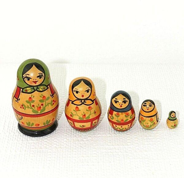 Ensoleillé Poupée Russe De Nidification Set De 5 Made Urss Russie Vintage 7 à 2 Cm Environ 43