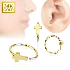 14 Karat 14K Solid Yellow Gold Cross Nose Lip Tragus Snug Hoop Ring Piercing 20g
