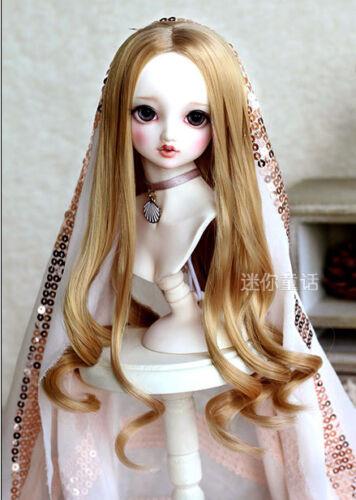 "6-7/"" 1//6 BJD Doll Long Wig Hair Curly Wavy Curls Tips Bright Auburn Golden Brown"