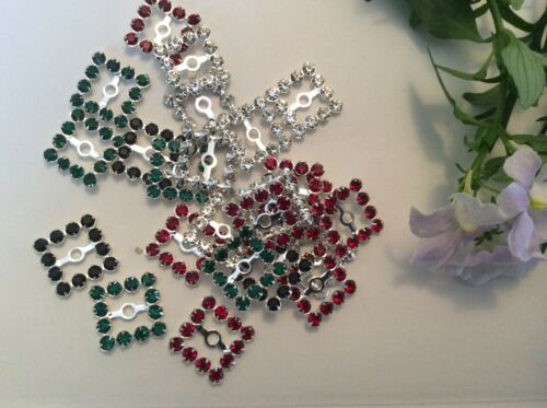 Vintage 13mm square set with12 rhinestones Mixed  x4 Silvertone  CRAFT
