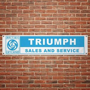 British-Leyland-Triumph-Banner-Garage-Workshop-PVC-Sign-Trackside-Display
