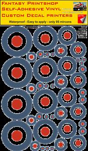 GéNéReuse Raf Cocarde Pack Mixte Autocollant Vinyle Type A Roundel 5mm - 50mm